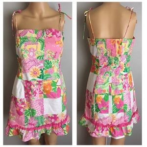 VTG Lilly Pulitzer Monkeys Floral Tie Dress 4 6